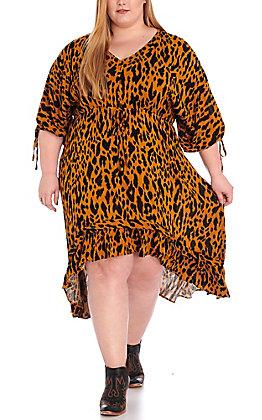 Umgee Women's Caramel Leopard Print Dress - Plus Size