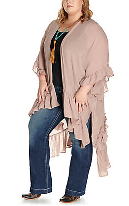 Umgee Women's Latte Ruffle Hem and Sleeve Kimono - Plus Sizes