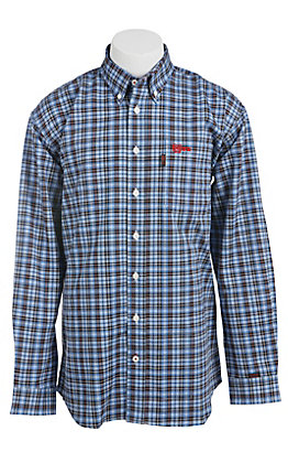 Cinch Men's Blue Plaid Long Sleeve FR Work Shirt