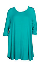 Women's Solid Turquoise with Pockets 3/4 Sleeve T-Shirt Dress - Plus Size