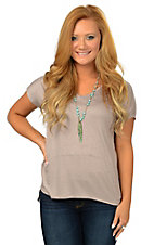 Karlie Women's Taupe V-Neck Seam Tunic Tee