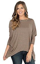 Karlie Women's Taupe & Black Stripe 3/4 Dolman Sleeve Knit Top