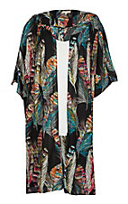 Umgee Women's Black Feather Print Long Kimono - Plus Size