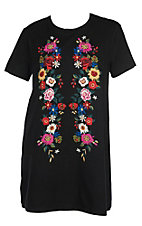 Umgee Women's Black with Multi Floral Embroidery Short Sleeve T-Shirt Dress - Plus Sizes