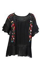 Umgee Women's Black w/ Embroidery and Ruffle Sleeves Fashion Shirt - Plus Size