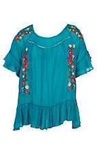 Umgee Women's Turquoise with Embroidery and Ruffle Sleeves Fashion Shirt - Plus Size