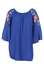 Umgee Women's Cobalt Blue Crochet with Embroidery Dress