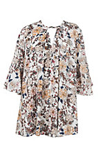 Umgee Women's Cream Floral Dress