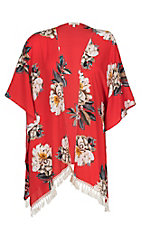 Umgee Women's Red and Ivory Floral Kimono - Plus Size
