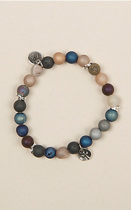 Laminin Multicolored Druzy Beaded Stretch Bracelet