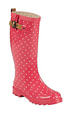 Chooka Women's Coral Dot Round Toe Rain Boots