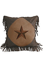 HiEnd Accents Laredo Embroidered Star with Fringe Pillow