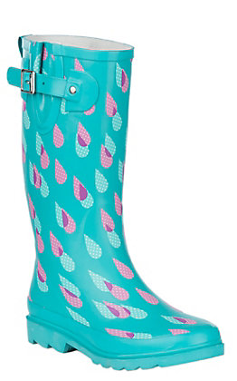 Western Chief Women's Turquoise Dotty Downpour Print Round Toe Rain Boots
