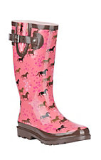Washington Shoe Company Women's Pink and Brown Horse Print Round Toe Rain Boots