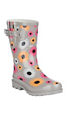 Western Chief Women's Grey Multi-Color Daisy Print Round Toe Rain Boots