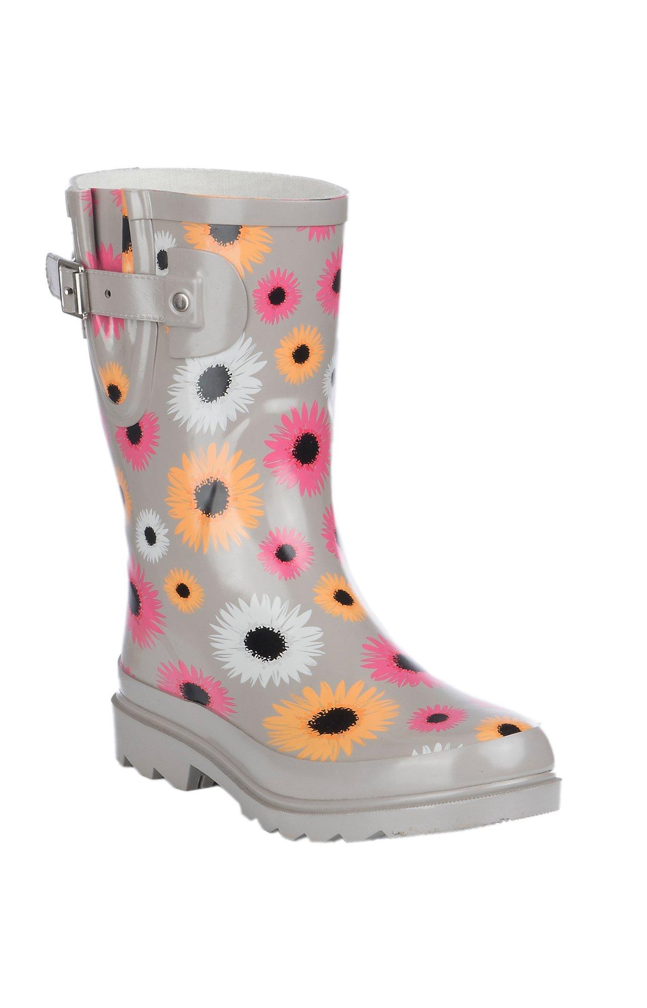 Western Chief Women's Grey Multi-Color Daisy Print Round Toe Rain Boots