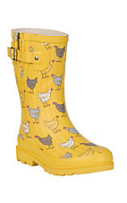 Washington Shoe Company Yellow w/ Chickens Print Round Toe Rain Boots