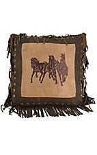 HiEnd Accents Ocala II Embroidered Running Horses with Fringe Pillow