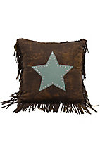 HiEnd Accents Cheyenne Brown with Turquoise Star and Fringe Pillow