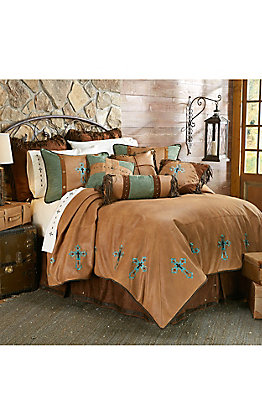HiEnd Accents Las Cruces Turquoise Embroidered Cross Bedding Set - Full