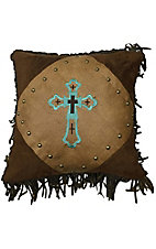 HiEnd Accents Las Cruces Turquoise Embroidered Cross with Fringe Pillow