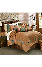 HiEnd Accents Las Cruces Turquoise Embroidered Cross Bedding Set - King