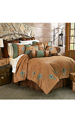 HiEnd Accents Las Cruces Turquoise Embroidered Cross Bedding Set - Queen