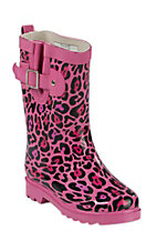 Western Chief Youth Pink Leopard Print Round Toe Rain Boots