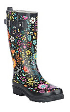 Western Chief Women's Black w/ Multi-Color Floral Print Round Toe Rain Boots