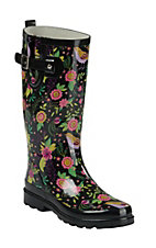 Western Chief Women's Black Bird Floral Print Round Toe Rain Boots