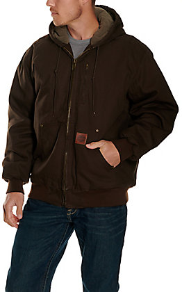 Cowboy Workwear Men's Dark Brown Hooded Canvas Jacket