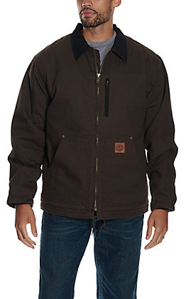 Cowboy Workwear Men's Dark Brown Fleece Lined Canvas Rancher Coat