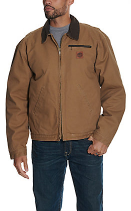 Cowboy Workwear Men's Light Tan Fleece Lined Canvas Jacket