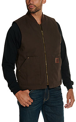 Cowboy Workwear Men's Dark Brown Washed Canvas Vest