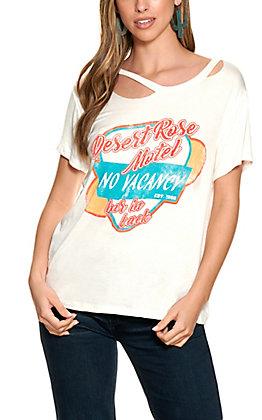 """Wanderlux Women's Ivory """"Desert Rose Motel"""" Graphic Short Sleeve T-Shirt"""