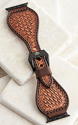 Hadlock Designs Brown Leather Hand Stamped Basket Weave Watch Band