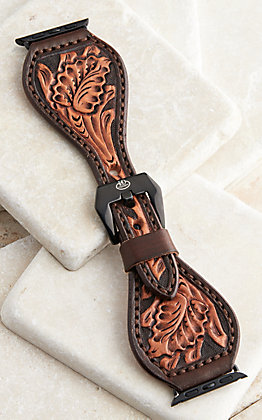 Hadlock Designs Brown Leather Hand Tooled Watch Band