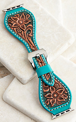 Hadlock Designs Brown & Turquoise Leather Floral Tooled Watch Band