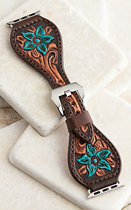 Handlock Designs Brown & Turquoise Leather Floral Tooled Watch Band