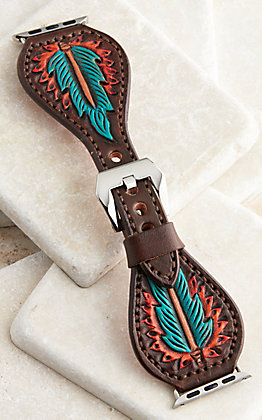 Hadlock Designs Brown Leather Tooled With Turquoise & Red Feathers Watch Band
