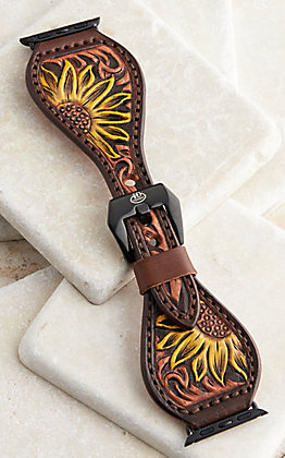 Hadlock Designs Women's Brown Leather Tooled Sunflower Watch Band