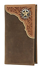 Tony Lama Tan Distressed with Natural Tooled Corner & Star Rodeo Wallet/Checkbook Cover WTL042