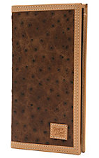 Tony Lama Rustic Brown Ostrich Print Center with Tan Trim Rodeo Wallet/Checkbook Cover WTL084