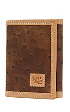 Tony Lama Trifold Rustic Brown Ostrich Print with Natural Trim Wallet WTL094