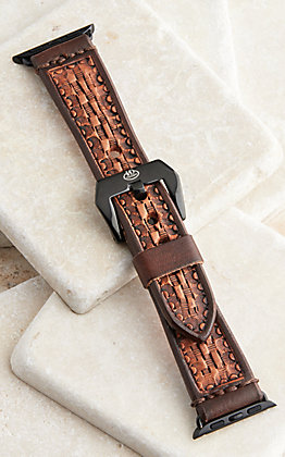 Hadlock Designs Brown Leather Tooled Basket Weave Watch Band