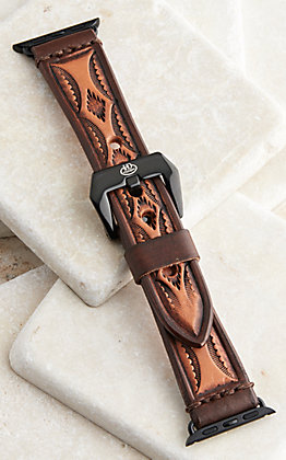 Hadlock Designs Brown Aztec Leather Tooled Watch Band