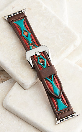 Hadlock Designs Brown, Red & Turquoise Aztec Leather Tooled Watch Band