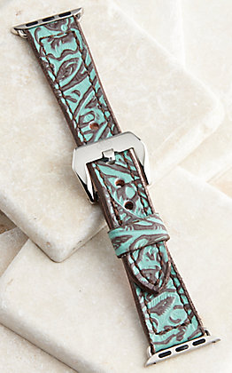 Hadlock Designs Brown & Turquoise Leather Tooled Watch Band