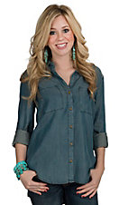 Velvet Heart Women's Vintage Denim Long Sleeve Hi-Lo Shirt