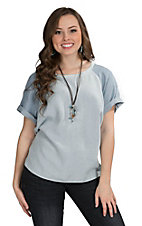 Velvet Heart Women's Raglan Short Sleeve Denim Top